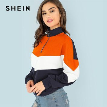 SHEIN Multicolor O-Ring Zip Front Cut and Sew Sweatshirt Preppy Stand Collar Half Placket Sweatshirts Women Tops