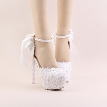 Newest Buckle Strap 9cm And 14cm Heels Bridal Wedding Shoes Lace Flower Rhinestone Party Prom Platform Banquet High-Heel