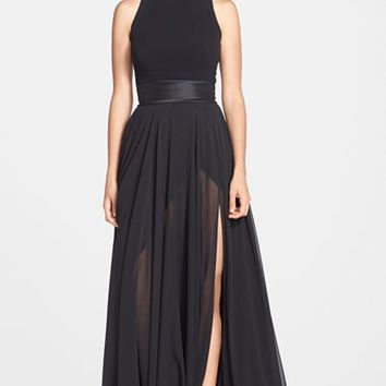 Women's Theia Mixed Media Turtleneck Gown