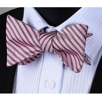 Pink Gray Stripe Silk Self Bow Tie  Pocket Square