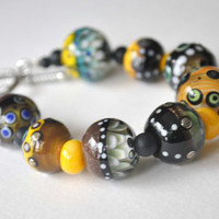 Black and Yellow Glass Bead Bracelet, Artisan Lampwork Bracelet, Beaded Bracelet