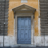 Rome Street Photography | Blue Yellow Wall | Travel | Bike | Italy | Wall Art | Home Decor | Rustic