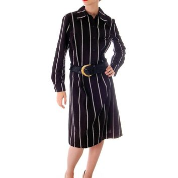 Vintage Marimekko Printed Cotton Shirt Dress 1970s Black & White Stripes 44/L