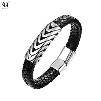 Titanium Steel Stainless Leather Woven Men Punk Bracelet Fashion Cortical Bracelets Jewellery Gifts Erkek Bilezik Heren Armband