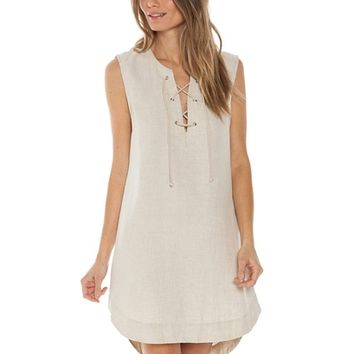 Bella Dahl Lace Up Dress in Natural | Boutique To You