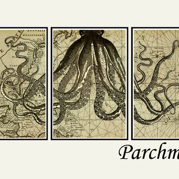 Octopus art print, Octopus decor, octopus tentacle art, bathroom wall art, bathroom decor, nautical wall art, set of 3 prints