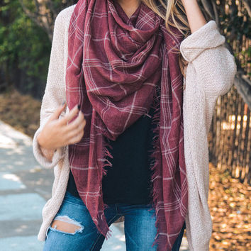 Washed Red Plaid Scarf
