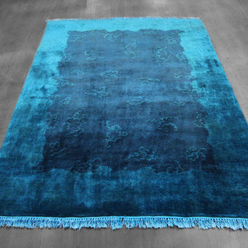 5x7 Over-dyed Teal Indigo Wool Rug woh-2654
