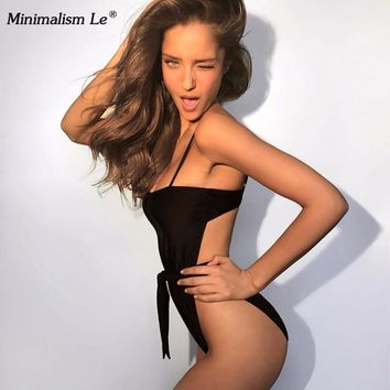 Minimalism Le One Piece Solid Swimsuit 2018 New Style Bikinis Swimwear Women's Bathing Suits Halter Top New Style Biquini