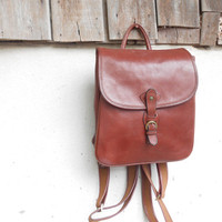 Vintage KATANA Chesnut Leather Backpack // Small