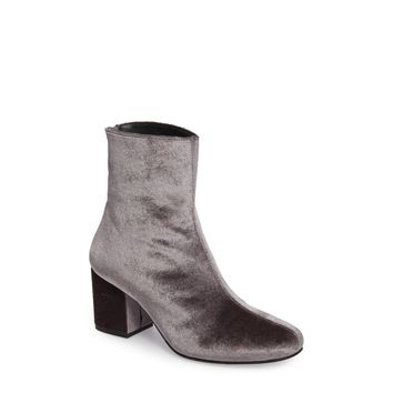 Free People Women's Cecile Block Heel Bootie in Grey Velvet