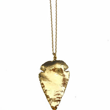 Gold Arrowhead Necklace - 18 Inch 24K Gold Dipped Arrowhead Pendant Necklace
