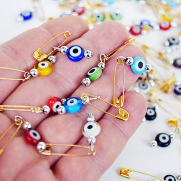 Evil Eye Invitation Pins 50 Pcs Mix Color Bulk Evil Eye Beads With Pin Gift Tag Wedding invitation Set Of 50 , Evil Eye Beads Hook