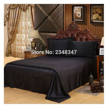 Luxury Smooth Soft Silky Home Hotel Satin Twin/Full/Queen/King Size Flat Sheet Bed Cover Solid Color Black Flounce round edge