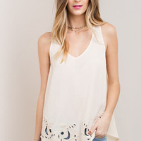 Cream Embroidered Hem Tank Top