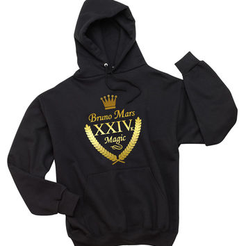 "Bruno Mars ""XXIVk 24k Magic Album Shield"" Unisex Adult Hoodie Sweatshirt"