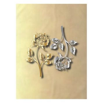 Two Golden And Silver Roses With Shadows Tablecloth
