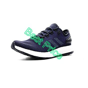 2018 Fashion adidas Pure Boost 2017 UK Trainers Navy Blue Footwear White newest sneaker