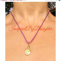 ON SALE Hamsa Hand Necklace Gold Pendant with Purple String Boho Bohemian Jewelry Hippie Accessories Spiritual Jewelry