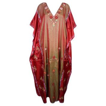 Mogul Womens Indian Kaftan Double Shaded Floral Embroidered Kashmiri Caftan Lounge Wear Beach Caftans Maxi Dress Cover Up Gift Ideas - Walmart.com