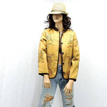 Embroidered denim jacket / size XS / 90s golden brown denim jacket / boho hippie jacket