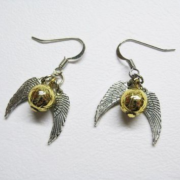 Golden Snitch Earrings with swinging wings by ccppolly on Etsy