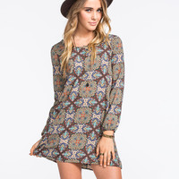 Full Tilt Medallion Print Dress Multi  In Sizes