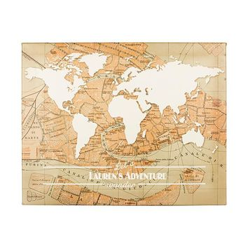 Let's Wander & Travel the World Canvas - Personalized to Enjoy All The Places You Will Go
