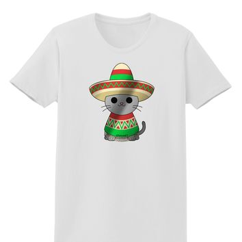 Sombrero and Poncho Cat - Metallic Womens T-Shirt by TooLoud