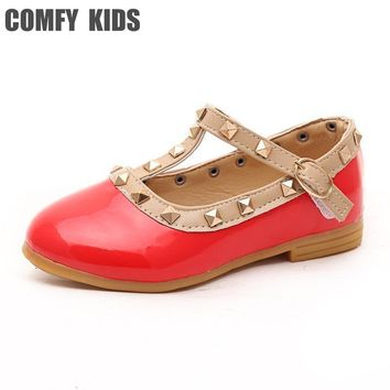 Baby Leather shoes child girls sandals shoes for girls leather princess shoe kids rivets flat casual fashion leather shoes