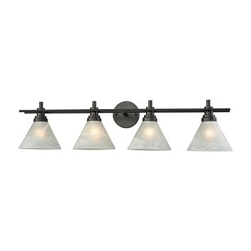 Pemberton 4-Light Vanity Lamp in Oil Rubbed Bronze with White Marbleized Glass