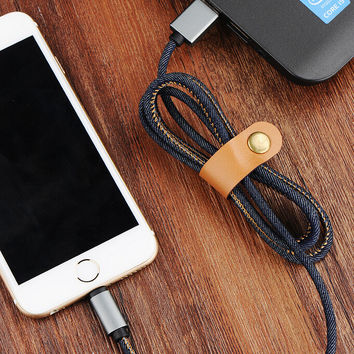 New iPhone 7 7 Plus &iPhone 6s 6Plus se 5s 40in Long Denim Leather Lightning Fabric Braid Cable USB Charger Sync +Gift Box
