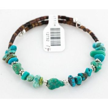 CREYV2S $80 Tag Authentic Made by Charlene Little Navajo Native American Natural Turquoise Adjustable WRAP Bracelet