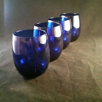 Cobalt Blue Roly Poly Glasses  S/4