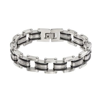 1/5 Carat T.W. Diamond Stainless Steel & Resin Bracelet - Men (White)