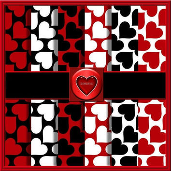 "COMMERCIAL USE OK Commercial Use Ok 6 Digital Valentine Red, Black And White, Large Heart Scrapbook Papers, 12""x12"" 300Dpi Instant Download"
