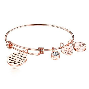 "AUGUAU Inspirational Charm Bangle Bracelet Engraved ""You are braver than you believe Stronger than you seem and Smarter than you think"" Motto Womens Jewelry Girls Gifts"