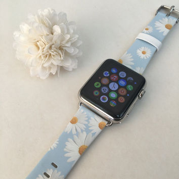 Apple Watch band 38mm Handmade Apple Watch Series 1 & 2 iWatch strap Wrist Leather With Adapter 38 / 42 mm- Light Blue Chrysanthemum Flowers