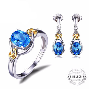.925 Solid Silver with Blue Topaz & CZ Earrings and Ring Set (Best Seller!)