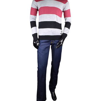 Men's Pink and Black Crew Neck Sweater with Stripe Pattern
