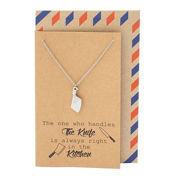 Ollie Gifts for Mom, Dad, Cooks Butcher Knife Necklace and Greeting Card