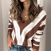 Patchwork Casual Women Sweater Jumper Plus Size Harajuku Loose Sweaters Pullovers Sexy Club Sweaters