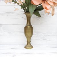 Vintage Tall Brass Pedestal Bud Vase | Made in India
