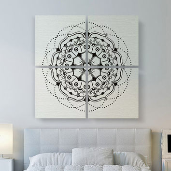 Modern Mandala Canvas Print, Large Canvas Art, 4 Set Square Canvas Art, Large Canvas Print, Mandala Canvas Art, Bedroom Decor, Modern Decor