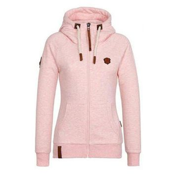 Plus Size S-5XL Hoodie Sweatshirt Women Coats Autumn 2017 High Collar Zip-up Hooded Cotton Ladies Coat Jacket moletom feminino