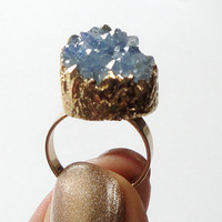 Raw Stone Druzy Ring, Sky Blue Gold  Druzy Ring, Blue Drusy Crystal Quartz Adjustable  Gold Dipped Rings, Bohemian Gypsy Chic