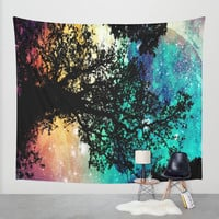 Black Trees Colorful Space Wall Tapestry by 2sweet4words Designs