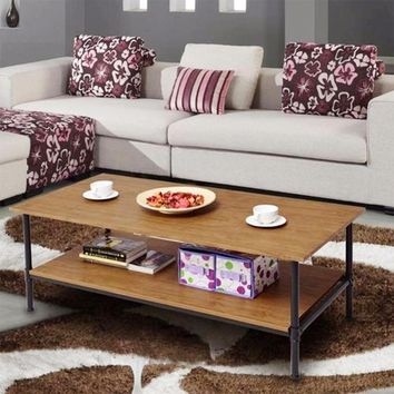 Rectangle Coffee Table Metal Frame Accent