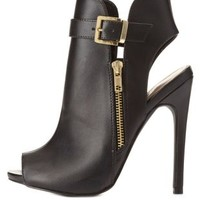 Black Belted Zip-Up Peep Toe Booties by Charlotte Russe