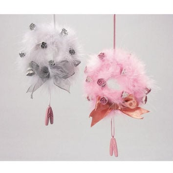 6 Christmas Ornaments - Feather Wreath With Ballerina Slipper